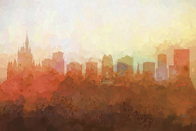 Poster featuring the digital art Orlando Florida Skyline by Marlene Watson