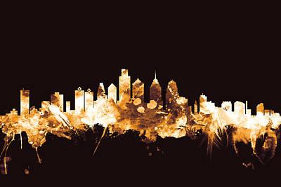Philadelphia Pennsylvania Skyline Poster by Michael Tompsett
