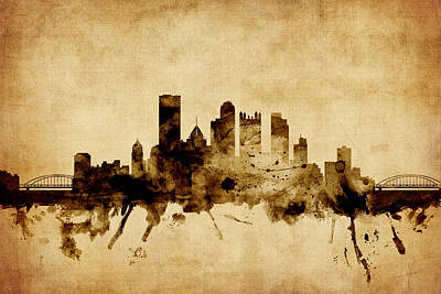 Pittsburgh Pennsylvania Skyline Poster by Michael Tompsett