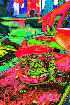 Pop Art Burgers French Fries Food Beverage Bright Colors Onion Rings Gracedivine.com Surreal,pop Art Poster by Grace Divine