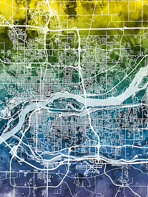 Quad Cities Street Map Poster by Michael Tompsett