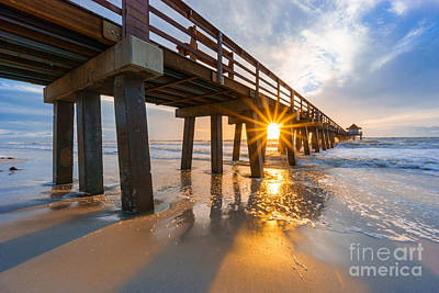 Poster featuring the photograph Sunset Naples Pier, Florida by Hans- Juergen Leschmann