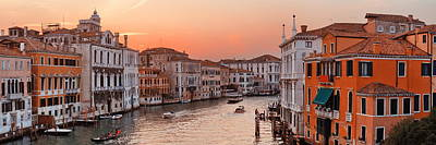 Poster featuring the photograph Venice Grand Canal Sunset by Songquan Deng