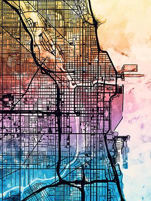 Chicago City Street Map Poster by Michael Tompsett