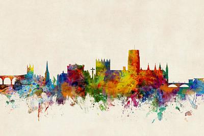Durham England Skyline Cityscape Poster by Michael Tompsett