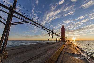 Grand Haven Pier And Lighthouse Poster