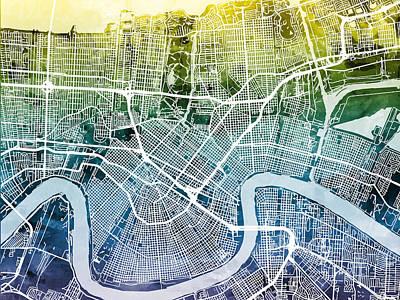 New Orleans Street Map Poster by Michael Tompsett