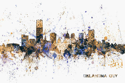 Poster featuring the digital art Oklahoma City Skyline by Michael Tompsett