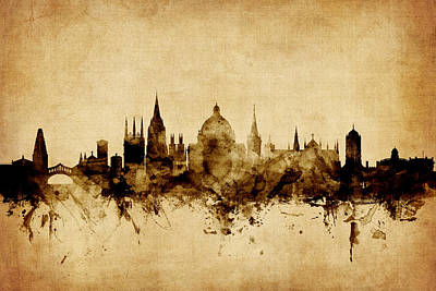 Oxford England Skyline Poster by Michael Tompsett