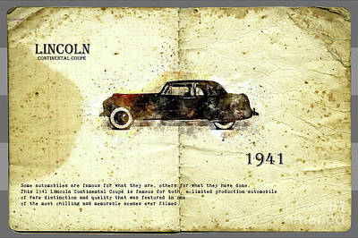 Poster featuring the digital art Retro Car In Sketch Style by Ariadna De Raadt