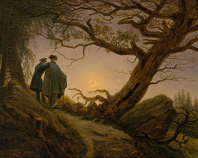 Two Men Contemplating The Moon Poster