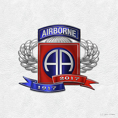82nd Airborne Division 100th Anniversary Insignia Over White Leather Poster by Serge Averbukh
