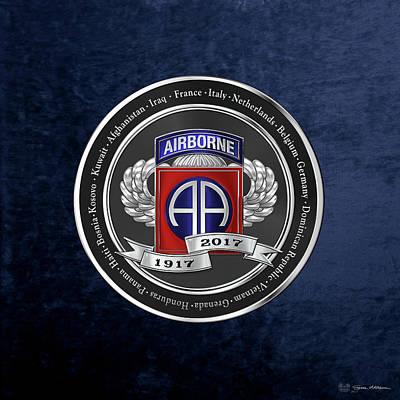 82nd Airborne Division 100th Anniversary Medallion Over Blue Velvet Poster by Serge Averbukh