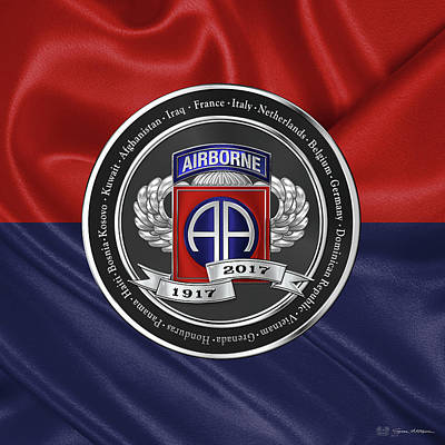 82nd Airborne Division 100th Anniversary Medallion Over Division Colors Poster by Serge Averbukh