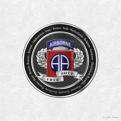 82nd Airborne Division 100th Anniversary Medallion Over White Leather Poster by Serge Averbukh