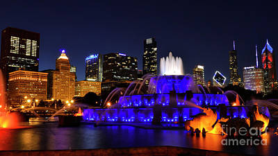 Poster featuring the photograph 911 Tribute At Buckingham Fountain, Chicago by Zawhaus Photography