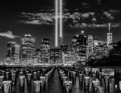 9/11 Tribute Lights - Bw Poster by Nick Zelinsky