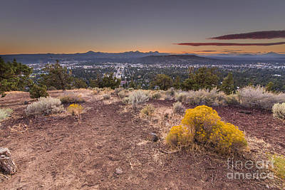 Bend From Pilot Butte In Evening Poster by Twenty Two North Photography