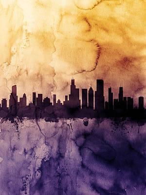 Chicago Illinois Skyline Poster by Michael Tompsett