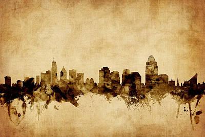 Cincinnati Ohio Skyline Poster by Michael Tompsett