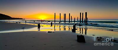 Port Willunga Sunset Poster by Bill  Robinson
