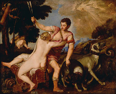 Venus And Adonis Poster by Titian