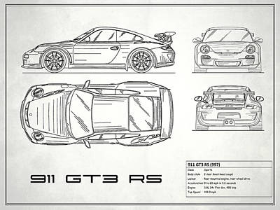 911 Gt3 Rs Blueprint - White Poster