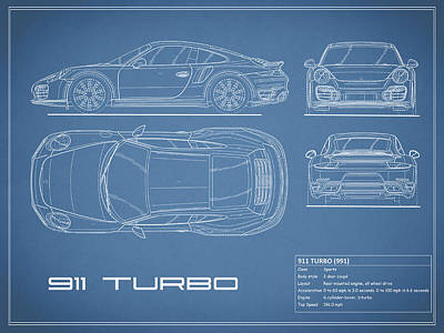 Car blueprint posters fine art america 911 turbo 991 blueprint poster malvernweather Choice Image