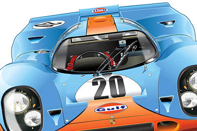 Porsche 917 Illustration Poster by Alain Jamar