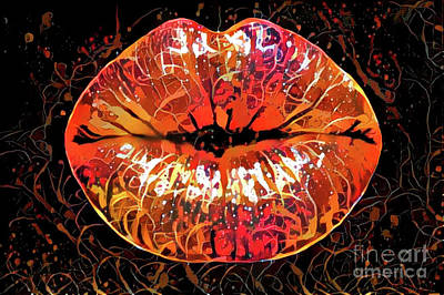 Kissing Lips Poster