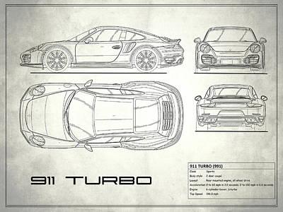 Car blueprint posters fine art america 991 turbo blueprint poster malvernweather Images