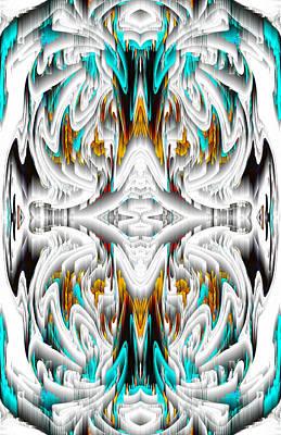 Poster featuring the digital art 992.042212mirror2ornategoldablue-1 by Kris Haas