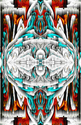 Poster featuring the digital art 992.042212mirror2ornateredablue-1 by Kris Haas