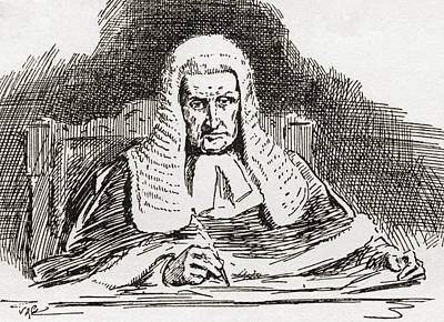 A 19th Century Old Bailey Judge. From Poster by Vintage Design Pics