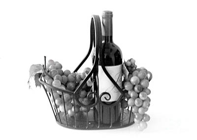 A Basket Of Wine And Grapes Poster