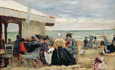 A Beach Scene Poster by Eugene Louis Boudin