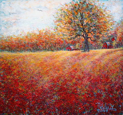 Poster featuring the painting A Beautiful Autumn Day by Natalie Holland