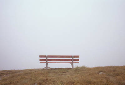 A Bench Contemplates The Fog Blocking Poster by Taylor S. Kennedy