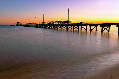 Poster featuring the photograph A Biloxi Pier Sunset - Mississippi - Gulf Coast by Jason Politte