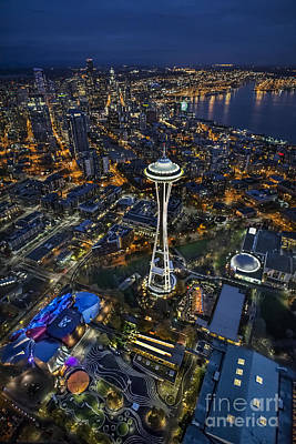 Poster featuring the photograph A Birds-eye View Of Seattle by Roman Kurywczak