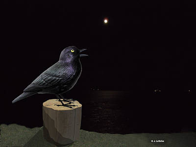A Blackbird Singing In The Dead Of Night Poster by Roland LaVallee