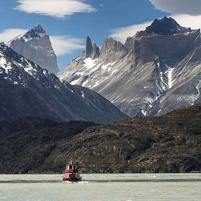 A Boat On Grey Lake, Torres Del Paine Poster