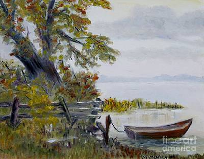 Poster featuring the painting A Boat Waiting by Marilyn  McNish
