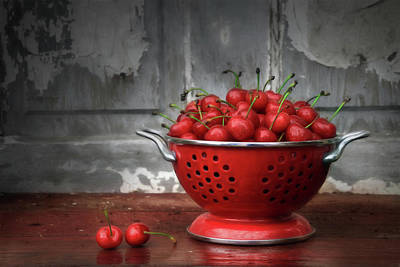 A Bowl Of Cherries Poster by Lori Deiter