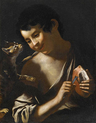 A  Boy Eating A Loaf Of Bread With A Cat Poster by Attributed to Tommaso Salini