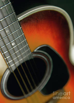 Poster featuring the photograph  Guitar  Acoustic Close Up by Bruce Stanfield
