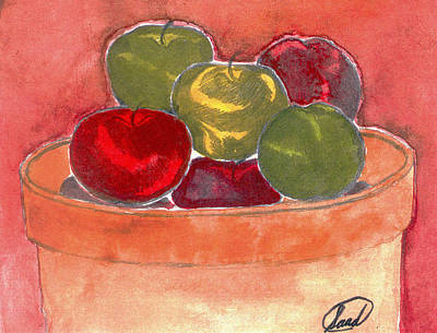 Poster featuring the painting A Bucket Full Of Apples by Saad Hasnain