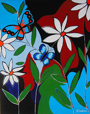 Poster featuring the painting A Butterflies Paradise by Kathleen Sartoris