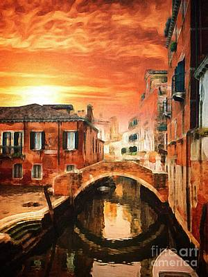 A Canal In Venice At Sunset Poster by Amy Cicconi