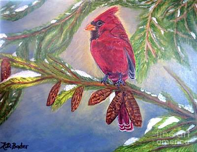 Poster featuring the painting A Cardinal's Sweet And Savory Song Of Winter Thawing Painting by Kimberlee Baxter